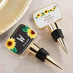 Personalized Gold Bottle Stopper with Epoxy Dome - Sunflower
