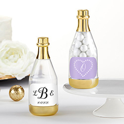 Personalized Gold Metallic Champagne Bottle Favor Container - Monogram (Set of 12)