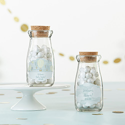 Personalized Vintage Milk Bottle Favor Jar - Gender Neutral Baby Shower (Set of 12)