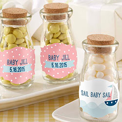 Personalized Vintage Milk Bottle Favor Jar - Nautical Baby (Set of 12)