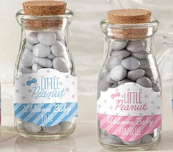 Personalized Vintage Milk Bottle Favor Jar - Little Peanut  (Set of 12)
