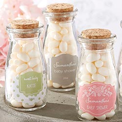 Personalized Vintage Milk Bottle Favor Jar - Rustic Baby Shower (Set of 12)