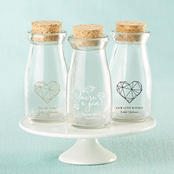 Personalized Printed Vintage Milk Bottle Favor Jar - Elements (Set of 12)