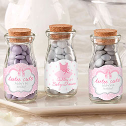 Personalized Vintage Milk Bottle Favor Jar - Tutu Cute (Set of 12)
