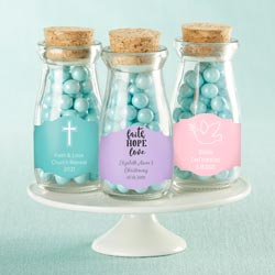 Personalized Vintage Milk Bottle Favor Jar - Religious (Set of 12)