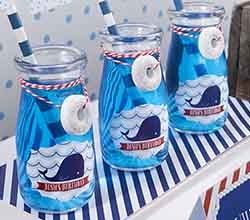 Personalized Milk Jar - Kates Nautical Birthday Collection (Set of 12)