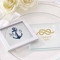 Personalized Glass Coaster - Nautical Wedding (Set of 12)