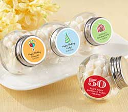 Mini Glass Personalized Favor Jar-Set of 12 (Birthday Designs)