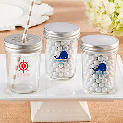 Personalized Printed Mason Jar - Kates Nautical Birthday Collection (Set of 12)