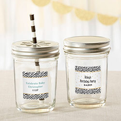 Personalized 8 oz. Glass Mason Jar - Safari (Set of 12)