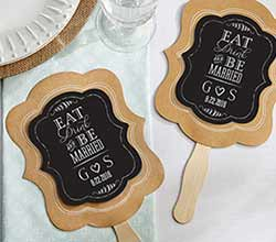 Personalized Kraft Fan - Eat, Drink & Be Married (Set of 12)