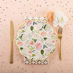 Floral 9 in. Premium Paper Plates (Set of 8)