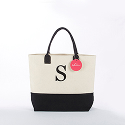 Classic Black and White Monogrammed Tote Bag