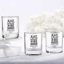 Personalized 2 oz. Shot Glass/Votive Holder - Eat, Drink & Be Married