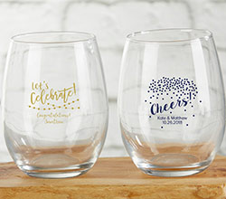 Personalized 9 oz. Stemless Wine Glass - Party Time