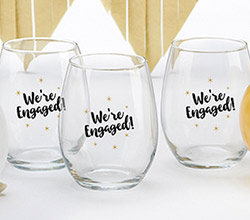 Were Engaged 15 oz. Stemless Wine Glass (Set of 4)