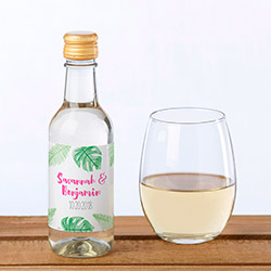 Personalized Mini Wine Bottle Labels - Pineapples & Palms