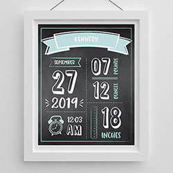 Personalized Newborn Infographic Nursery Décor Wall Art