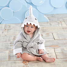 """Let The Fin Begin"" Gray Shark Robe (Personalization Available)"